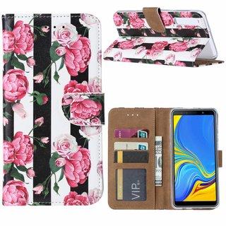 Gestreepte Rozen print lederen Bookcase hoesje voor de Samsung Galaxy A7 2018