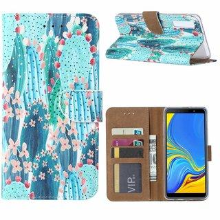 Cactus print lederen Bookcase hoesje voor de Samsung Galaxy A7 2018 - Blauw