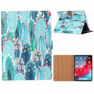 Cactus print lederen standaard hoes voor de Apple iPad 2017/2018 (9.7  inch) - Blauw