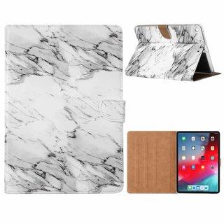 Marmer print lederen standaard hoes voor de Apple iPad 2017/2018 (9.7  inch) - Wit