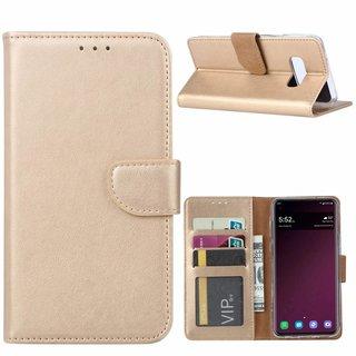 Luxe Lederen Bookcase hoesje voor de Samsung Galaxy S10E - Goud