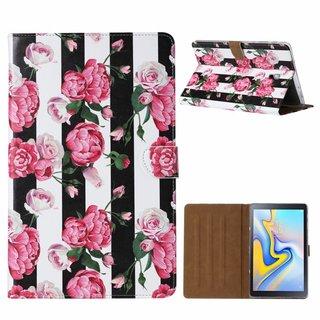 Gestreepte Rozen print lederen standaard hoes voor de Samsung Galaxy Tab A (10.5 inch)
