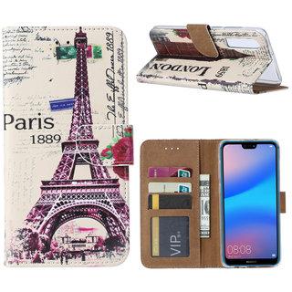 Parijs print lederen Bookcase hoesje voor de Huawei P30 - Wit
