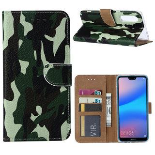 Leger Camouflage print lederen Bookcase hoesje voor de Huawei P30