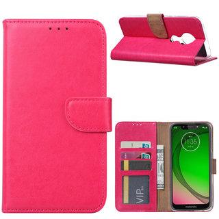Bookcase Motorola Moto G7 Play hoesje - Roze