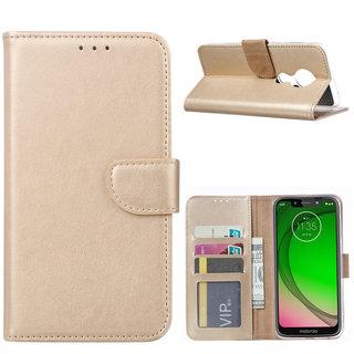 Bookcase Motorola Moto G7 Play hoesje - Goud