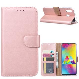 Luxe Lederen Bookcase hoesje voor de Samsung Galaxy M20 - Metallic Roze