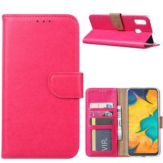 Luxe Lederen Bookcase hoesje voor de Samsung Galaxy A30 - Roze