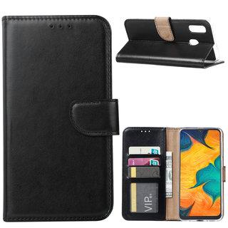 Luxe Lederen Bookcase hoesje voor de Samsung Galaxy A30 - Zwart