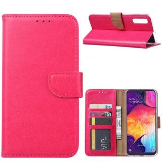 Luxe Lederen Bookcase hoesje voor de Samsung Galaxy A50 - Roze