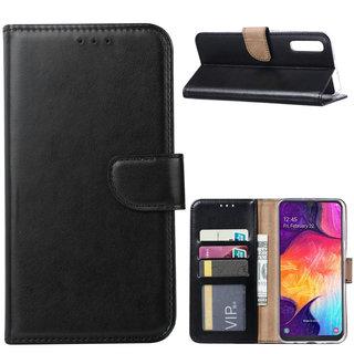 Luxe Lederen Bookcase hoesje voor de Samsung Galaxy A50 - Zwart