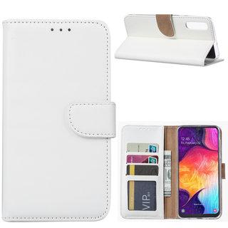Luxe Lederen Bookcase hoesje voor de Samsung Galaxy A50 - Wit