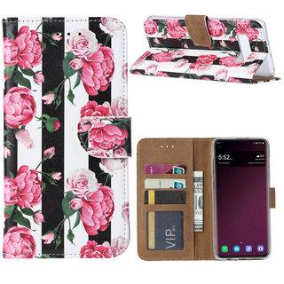 Gestreepte Rozen print lederen Bookcase hoesje voor de Samsung Galaxy S10