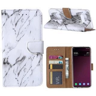Marmer print lederen Bookcase hoesje voor de Samsung Galaxy S10 - Wit