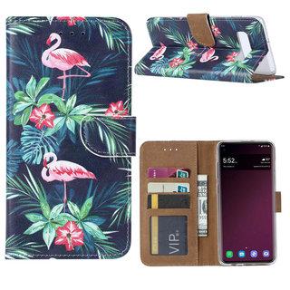 Flamingo print lederen Bookcase hoesje voor de Samsung Galaxy S10 - Zwart
