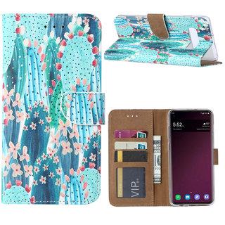 Cactus print lederen Bookcase hoesje voor de Samsung Galaxy S10 Plus - Blauw