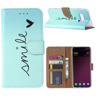 Smile print lederen Bookcase hoesje voor de Samsung Galaxy S10 Plus - Mintgroen