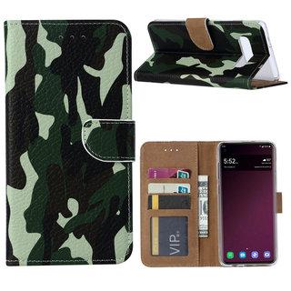 Leger Camouflage print lederen Bookcase hoesje voor de Samsung Galaxy S10 Plus