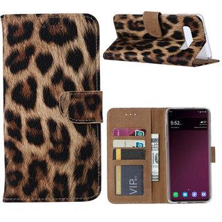 Panter print lederen Bookcase hoesje voor de Samsung Galaxy S10 Plus