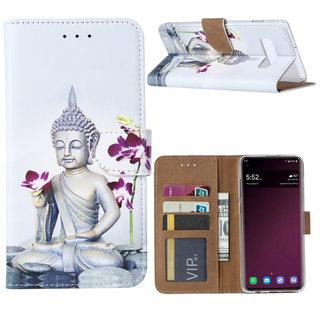 Buddha print lederen Bookcase hoesje voor de Samsung Galaxy S10 Plus - Wit
