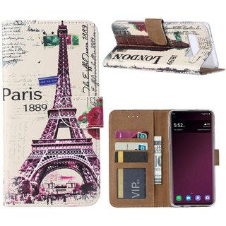 Parijs print lederen Bookcase hoesje voor de Samsung Galaxy S10 Plus - Wit