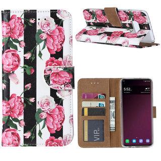 Gestreepte Rozen print lederen Bookcase hoesje voor de Samsung Galaxy S10E