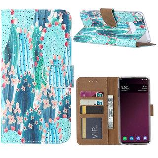 Cactus print lederen Bookcase hoesje voor de Samsung Galaxy S10E - Blauw