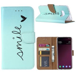 Smile print lederen Bookcase hoesje voor de Samsung Galaxy S10E - Mintgroen