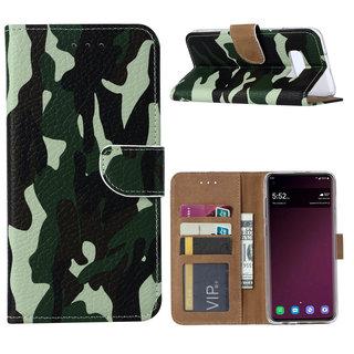 Leger Camouflage print lederen Bookcase hoesje voor de Samsung Galaxy S10E