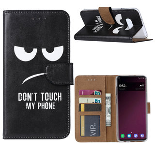 Don't Touch My Phone print lederen Bookcase hoesje voor de Samsung Galaxy S10E - Zwart