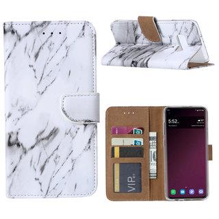 Marmer print lederen Bookcase hoesje voor de Samsung Galaxy S10E - Wit