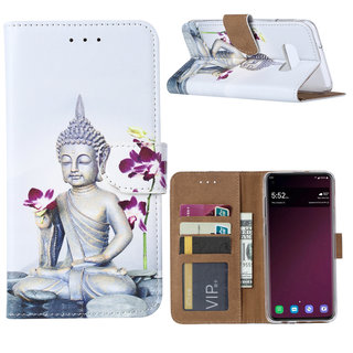 Buddha print lederen Bookcase hoesje voor de Samsung Galaxy S10E - Wit