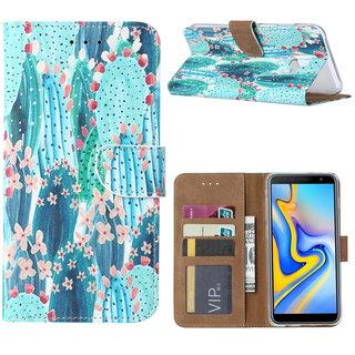 Cactus print lederen Bookcase hoesje voor de Samsung Galaxy J6 Plus 2018 - Blauw