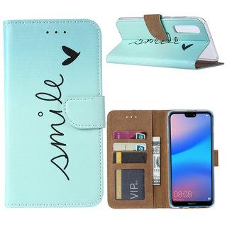 Smile print lederen Bookcase hoesje voor de Huawei P30 - Mintgroen