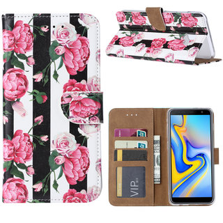 Gestreepte Rozen print lederen Bookcase hoesje voor de Samsung Galaxy J6 Plus 2018