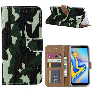 Leger Camouflage print lederen Bookcase hoesje voor de Samsung Galaxy J6 Plus 2018