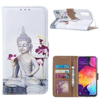 Buddha print lederen Bookcase hoesje voor de Samsung Galaxy A50 - Wit