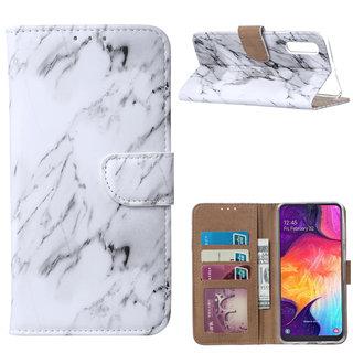 Marmer print lederen Bookcase hoesje voor de Samsung Galaxy A50 - Wit