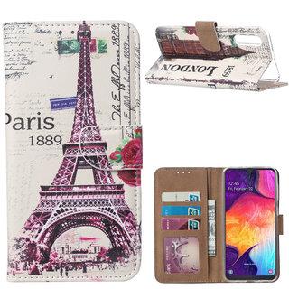 Parijs print lederen Bookcase hoesje voor de Samsung Galaxy A50 - Wit