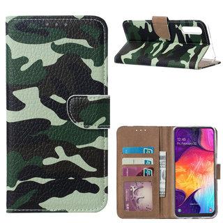 Leger Camouflage print lederen Bookcase hoesje voor de Samsung Galaxy A50