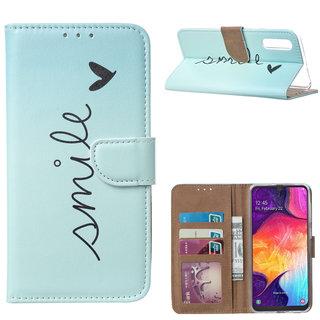 Smile print lederen Bookcase hoesje voor de Samsung Galaxy A50 - Mintgroen