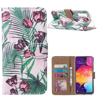Botanische Rozen print lederen Bookcase hoesje voor de Samsung Galaxy A50
