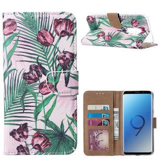 Botanische Rozen print lederen Bookcase hoesje voor de Samsung Galaxy S9 Plus