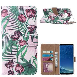 Botanische Rozen print lederen Bookcase hoesje voor de Samsung Galaxy S8 Plus