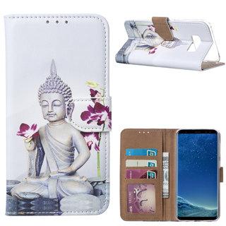 Buddha print lederen Bookcase hoesje voor de Samsung Galaxy S8 Plus - Wit