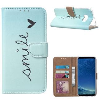 Smile print lederen Bookcase hoesje voor de Samsung Galaxy S8 - Mintgroen