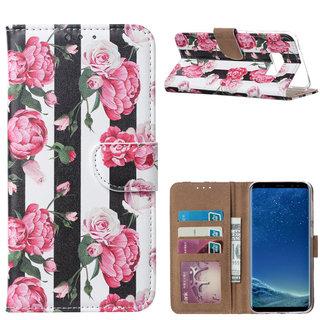 Gestreepte Rozen print lederen Bookcase hoesje voor de Samsung Galaxy S8