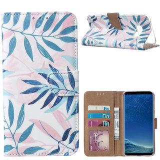 Botanische Planten print lederen Bookcase hoesje voor de Samsung Galaxy S8