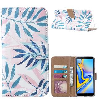 Botanische Planten print lederen Bookcase hoesje voor de Samsung Galaxy J6 Plus 2018