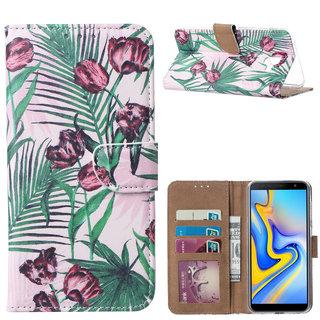 Botanische Rozen print lederen Bookcase hoesje voor de Samsung Galaxy J6 Plus 2018